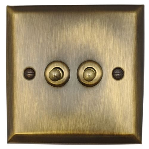 G&H SAB282 Spectrum Plate Antique Bronze 2 Gang 1 or 2 Way Toggle Light Switch